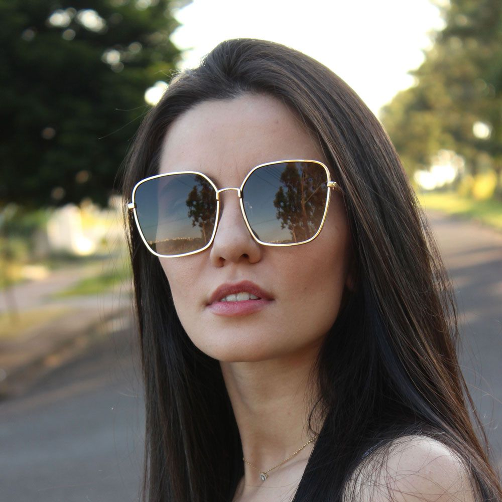 Óculos De Sol Díspar D2282 Quadrado Glitter - Dourado