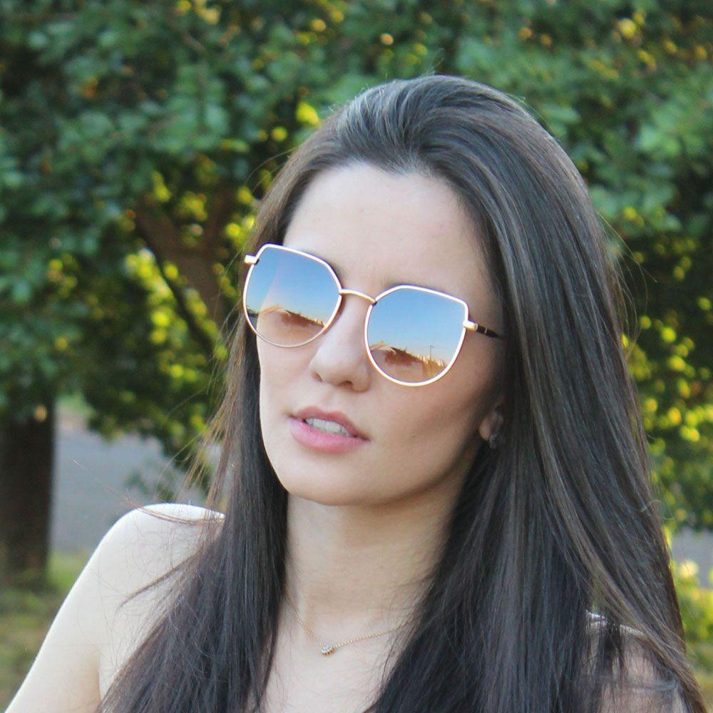 Óculos De Sol Díspar D2293 Gatinho - Dourado