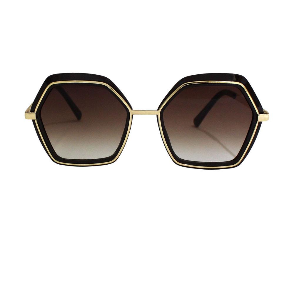 Óculos de Sol Díspar D2465 Geométrico - Marrom