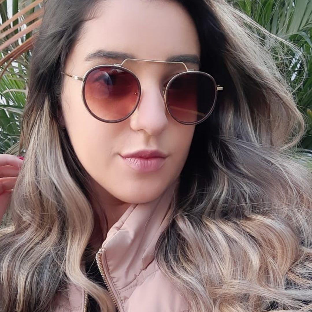 Óculos De Sol Díspar D2492 Redondo - Dourado/Marrom