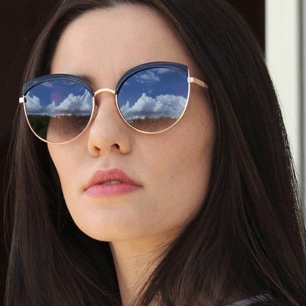 Óculos De Sol Díspar D2516 Gatinho - Dourado/Preto