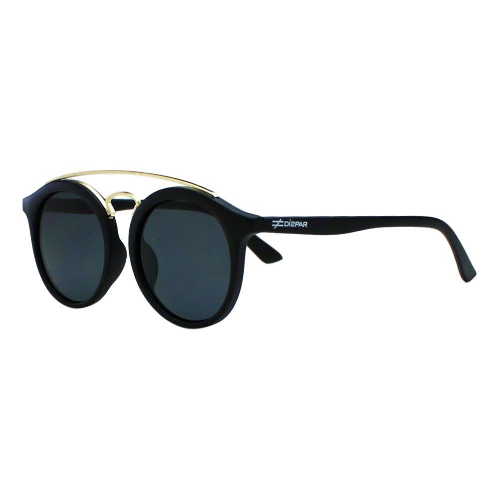 Óculos de Sol Díspar ID1961 Infantil - 9 a 12 anos - Preto Fosco