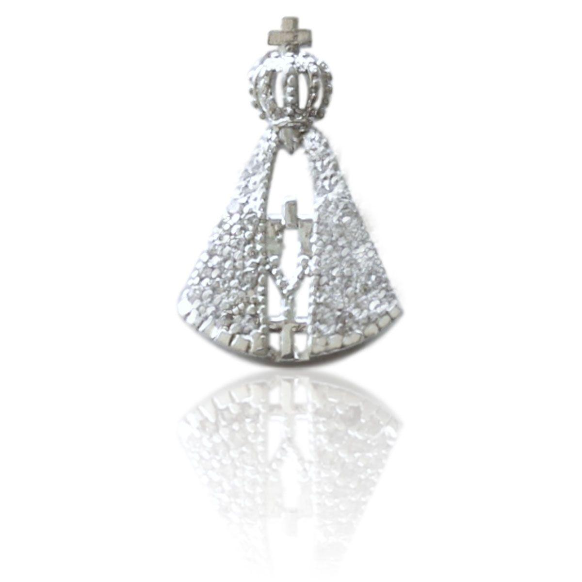 Pingente Díspar 2145 Nossa Senhora Cravejado com Microzircônia - Prata