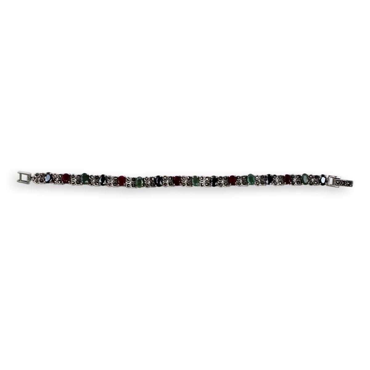 Pulseira Díspar 2138 Rubi, Esmeralda, Safira e Marcassitas 18 cm - Prata