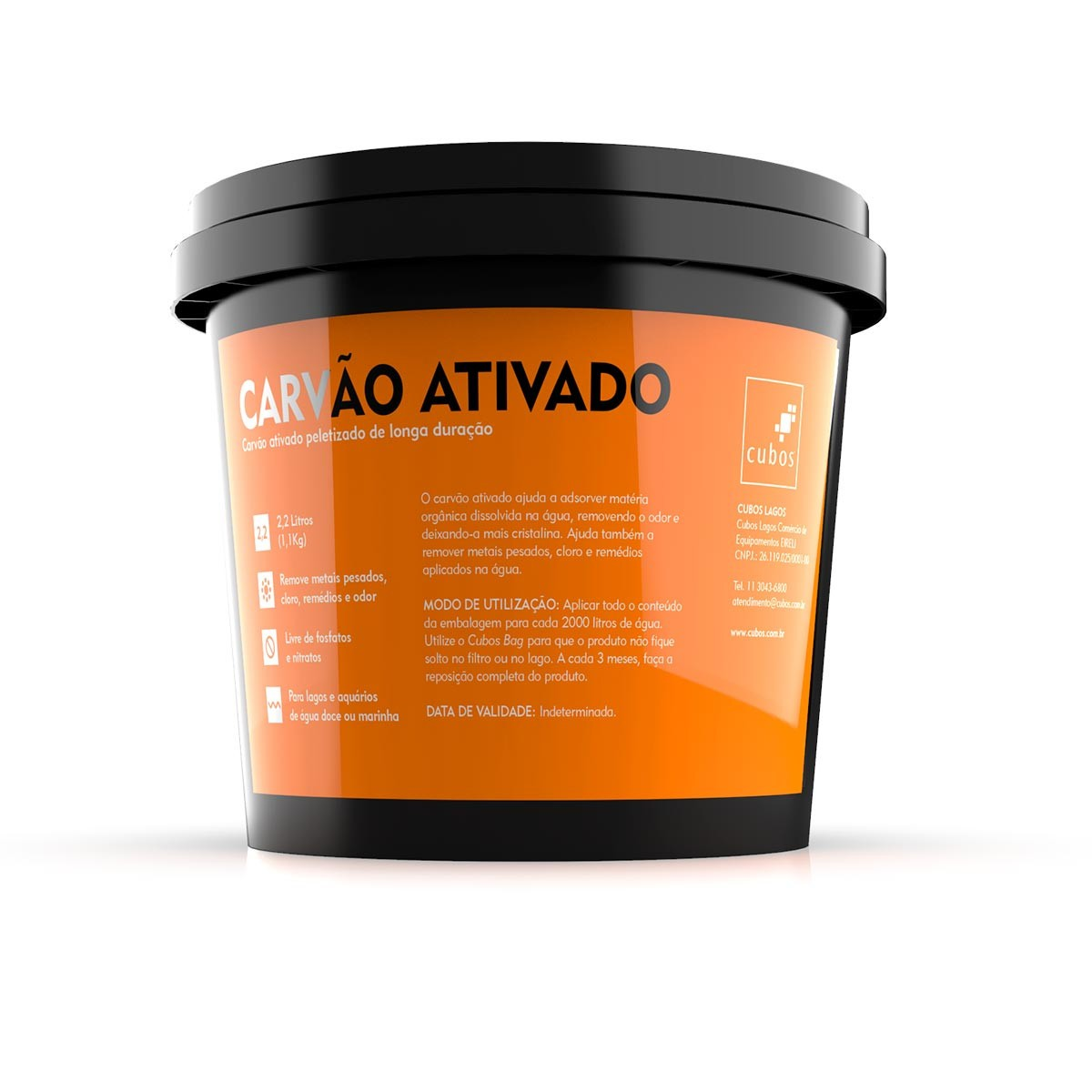 Kit Cubos Carvão Ativado - balde 2,2 litros mais Bag com Zíper 25x25cm