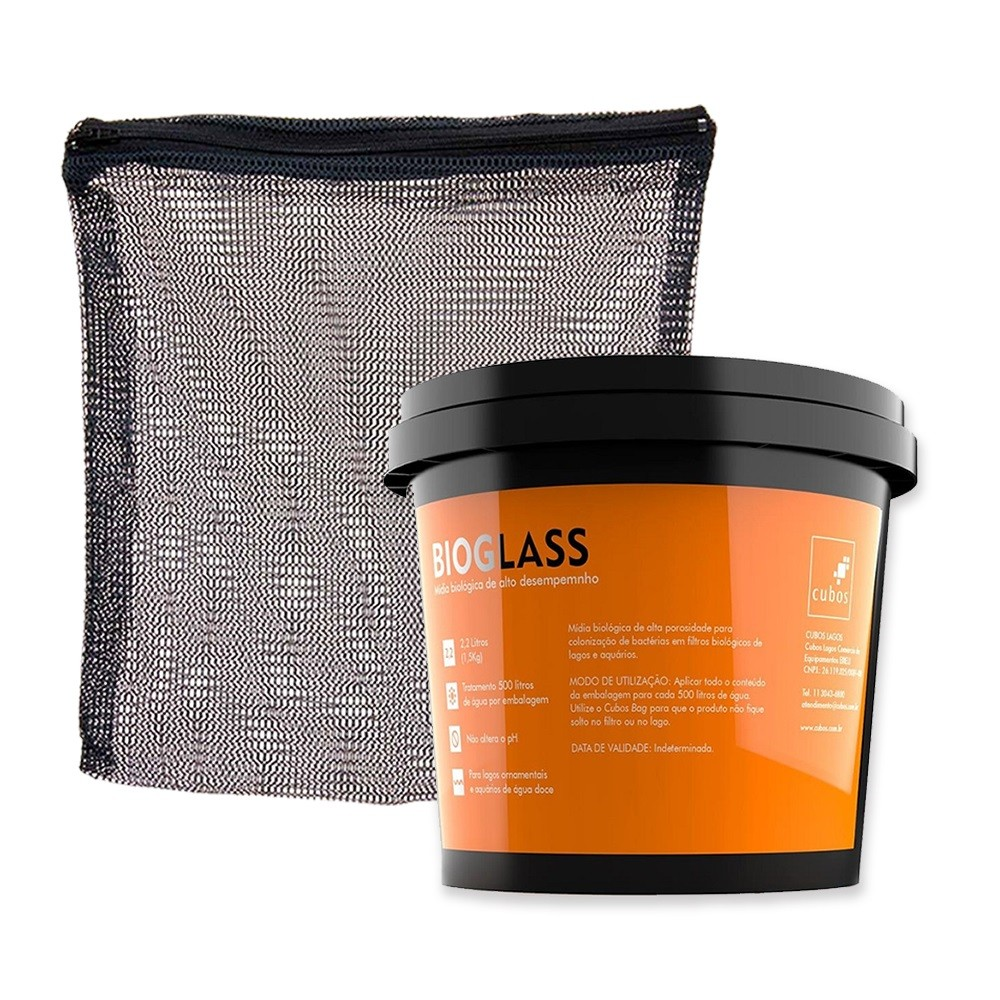 kit Cubos Mídia Bioglass 2,2L (1,5kg) mais bag 25x25 com zíper