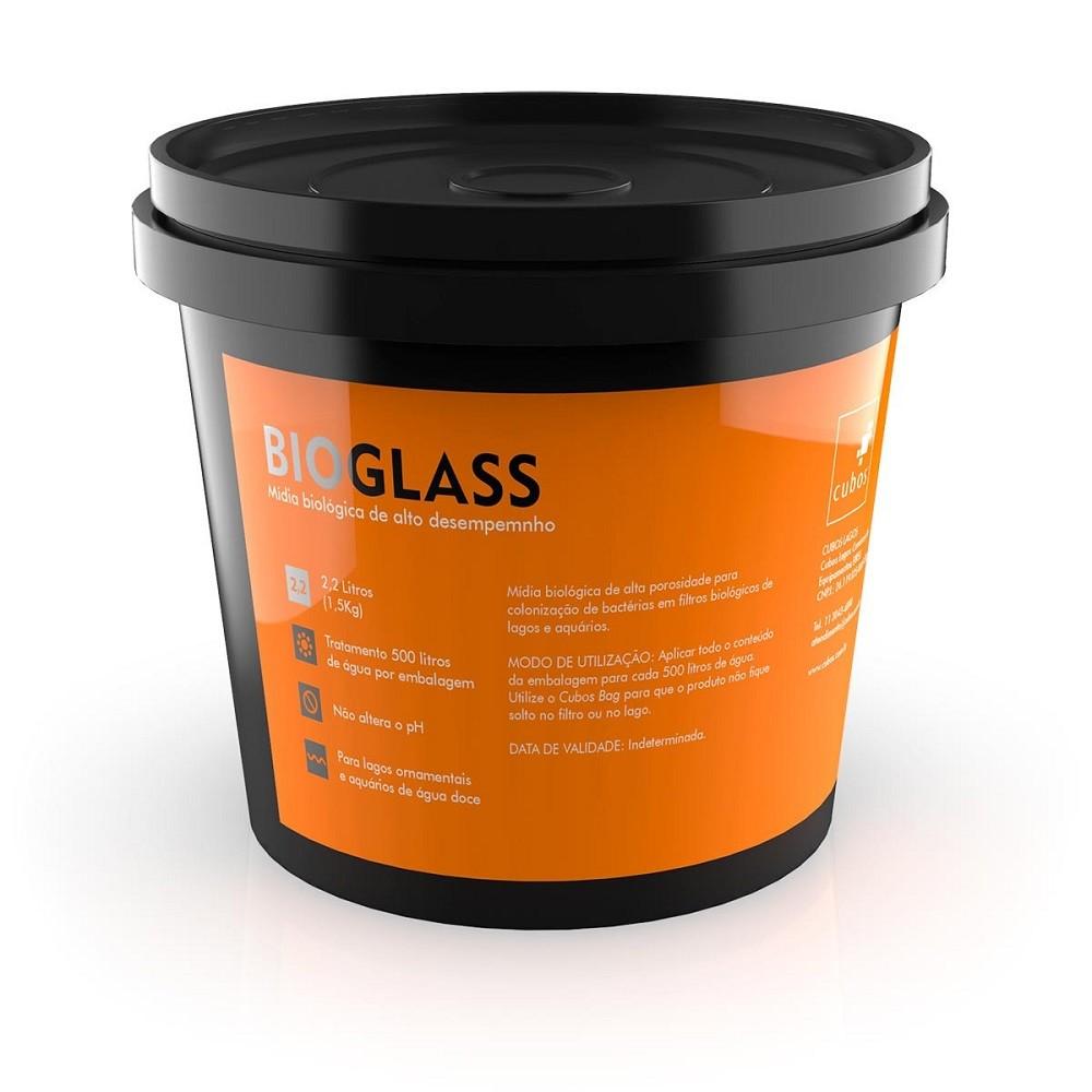 Mídia Biológica Cubos Bioglass 2,2L - 1,5kg para Colonização de Bactérias