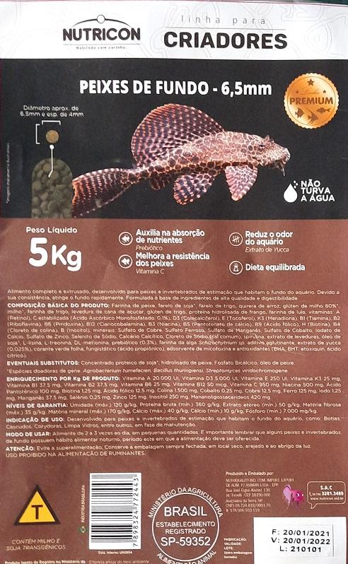 Ração Peixes de Fundo Bottom Fish 6,5 mm Linha para Criadores Nutricon 5kg