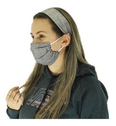 Máscara De Proteção Dupla De Gliter Com Tiara