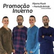 Pijama de Plush Manga Longa Masculino + Brinde Pantufa