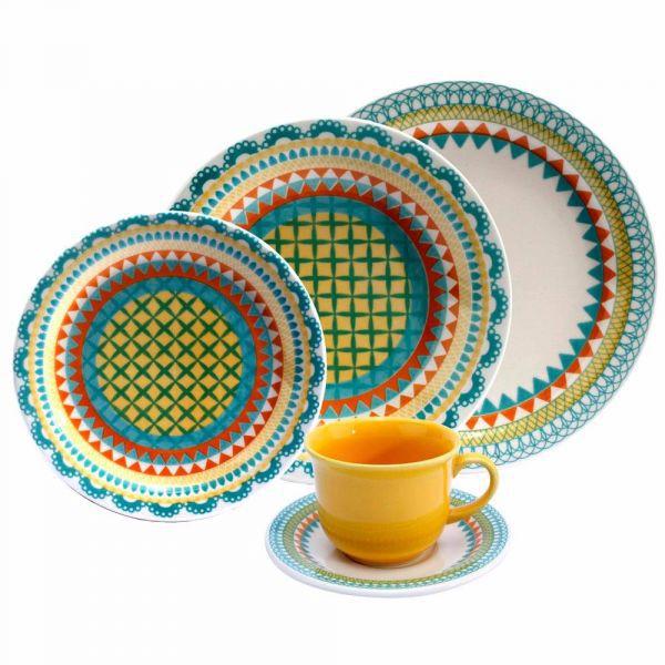 Aparelho De Jantar Floreal Bilro 30 Peças Oxford Porcelana