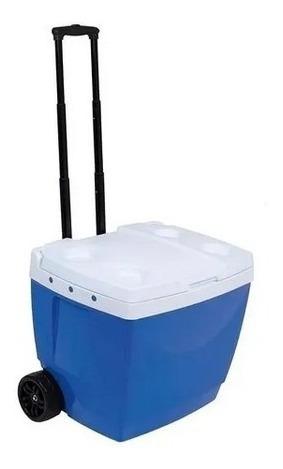 Caixa Térmica Cooler 42 Litros Azul Com Rodinha Mor