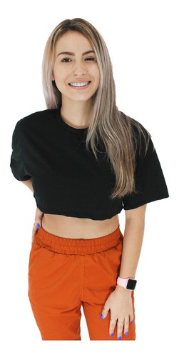 Cropped Manga Curta Top