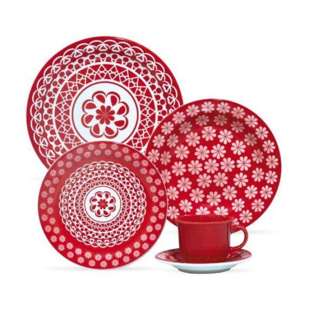 Jogo De Jantar Floreal Renda 20 Peças - Oxford Porcelana