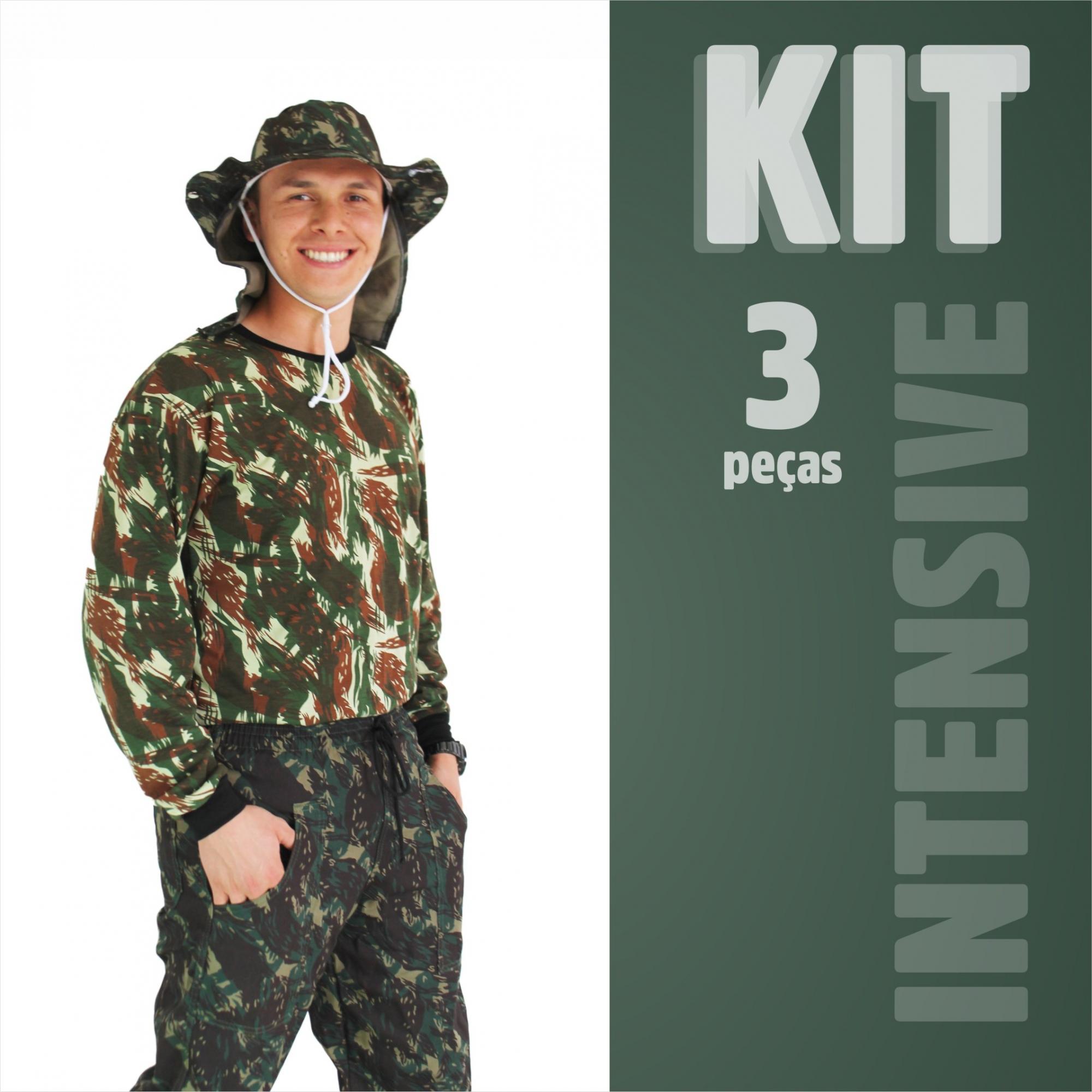 Kit Camuflado Intensive - Calça, Camiseta e Chapéu