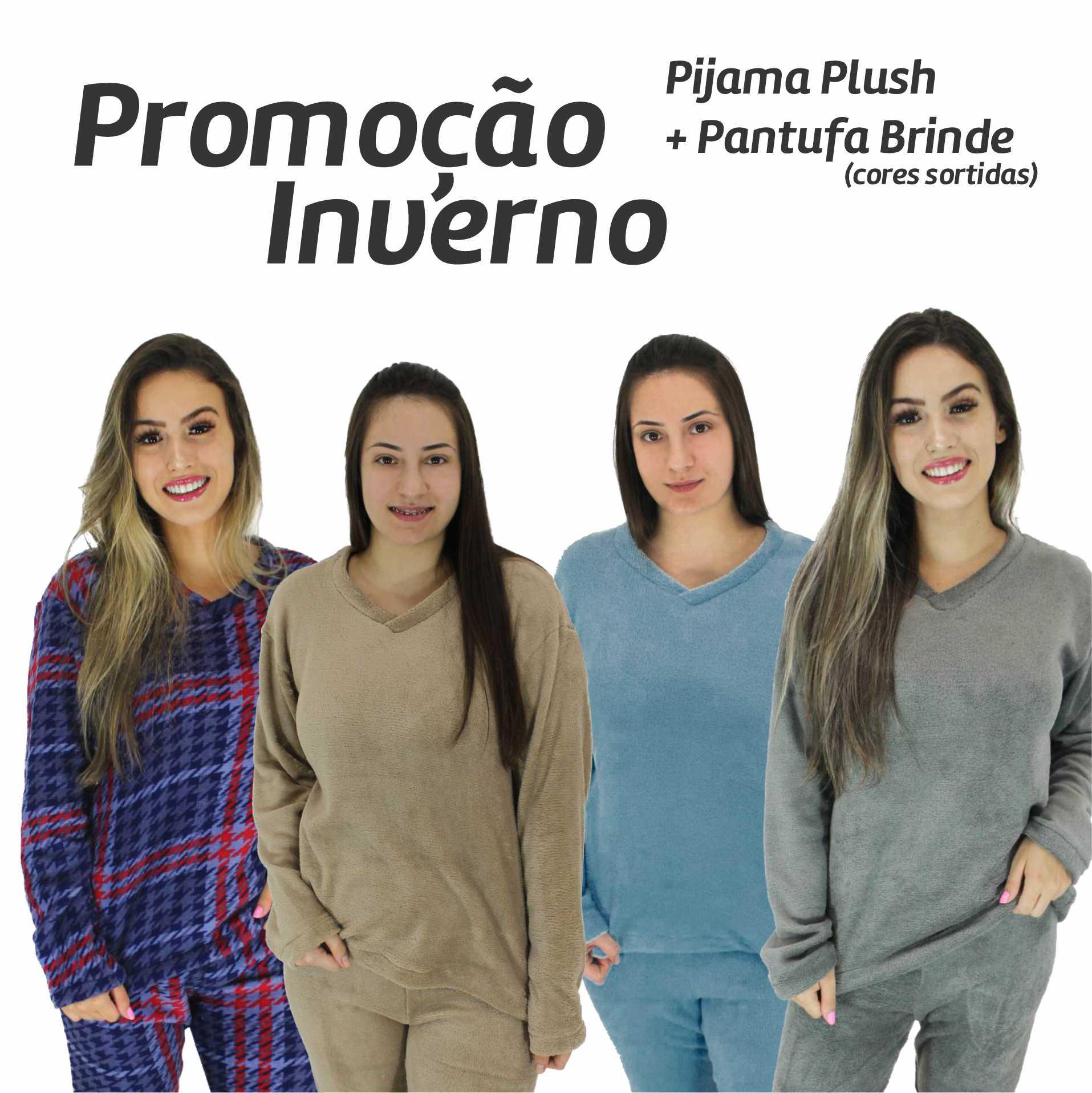 Pijama de Plush Manga Longa Feminino + Brinde Pantufa