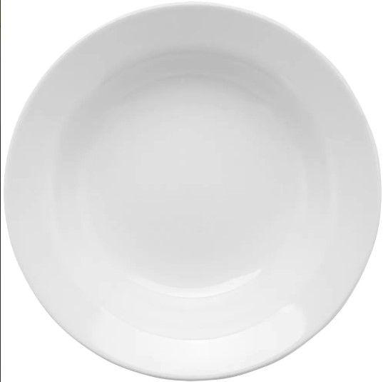 Prato Fundo Branco De Porcelana 24cm Com Aba Oxford
