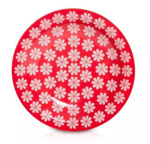 Prato Fundo Floreal Renda Vermelho E Branco Oxford 23 Cm