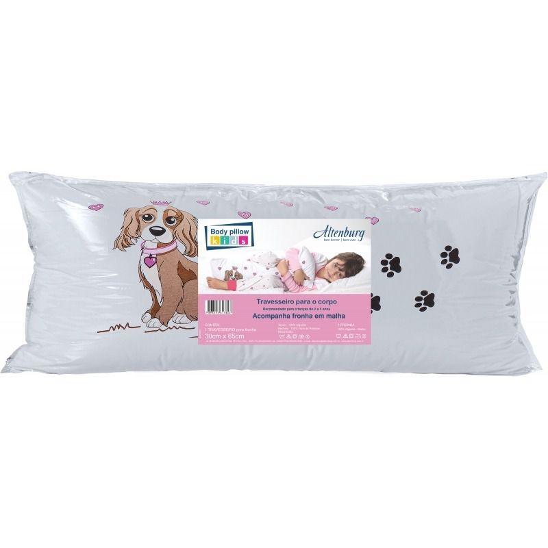 travesseiro Corpo Body Pillow Kids 30x65 Cm C/ Fronha Menina