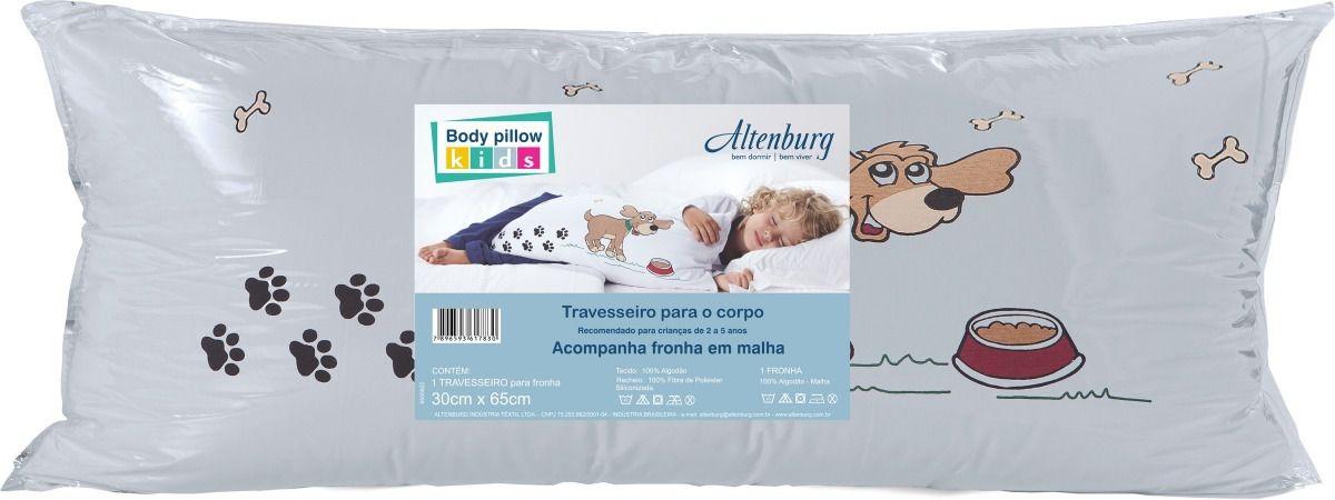 Travesseiro Corpo Body Pillow Kids 30x65 Cm C/ Fronha Menino