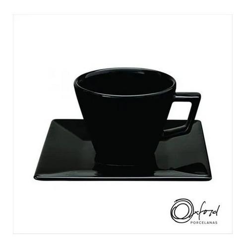 Xícara Porcelana Black Com Pires  200ml Oxford Porcelanas