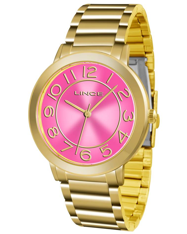 486151938a9 Relógio Lince Feminino Dourado LRGH046L R2KX Rosa - Janne Semijoias