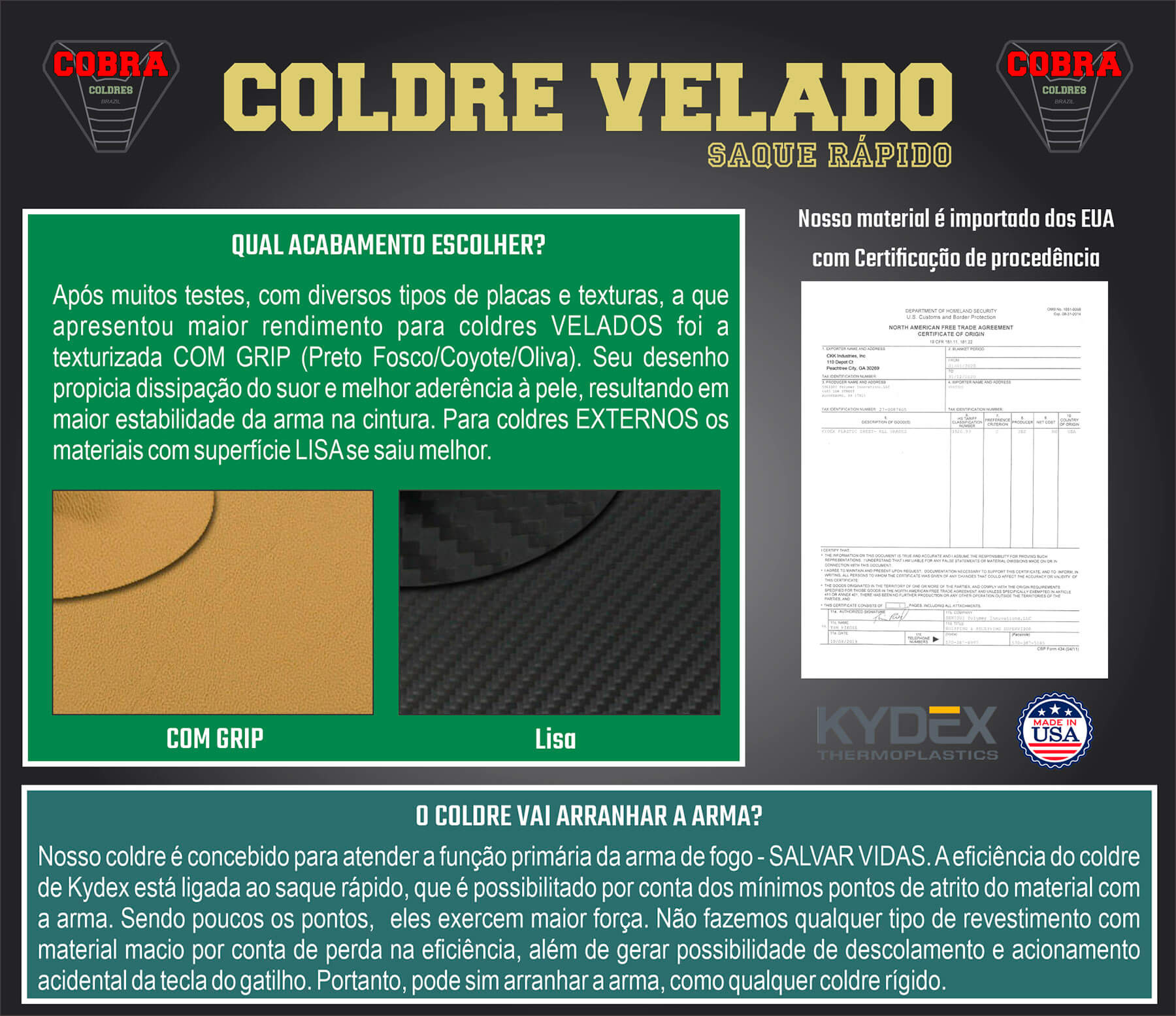 Coldre Cobra [PT58] [PT58 HC Plus] [PT57] [PT58s] Saque Rápido Velado -  Kydex® 080