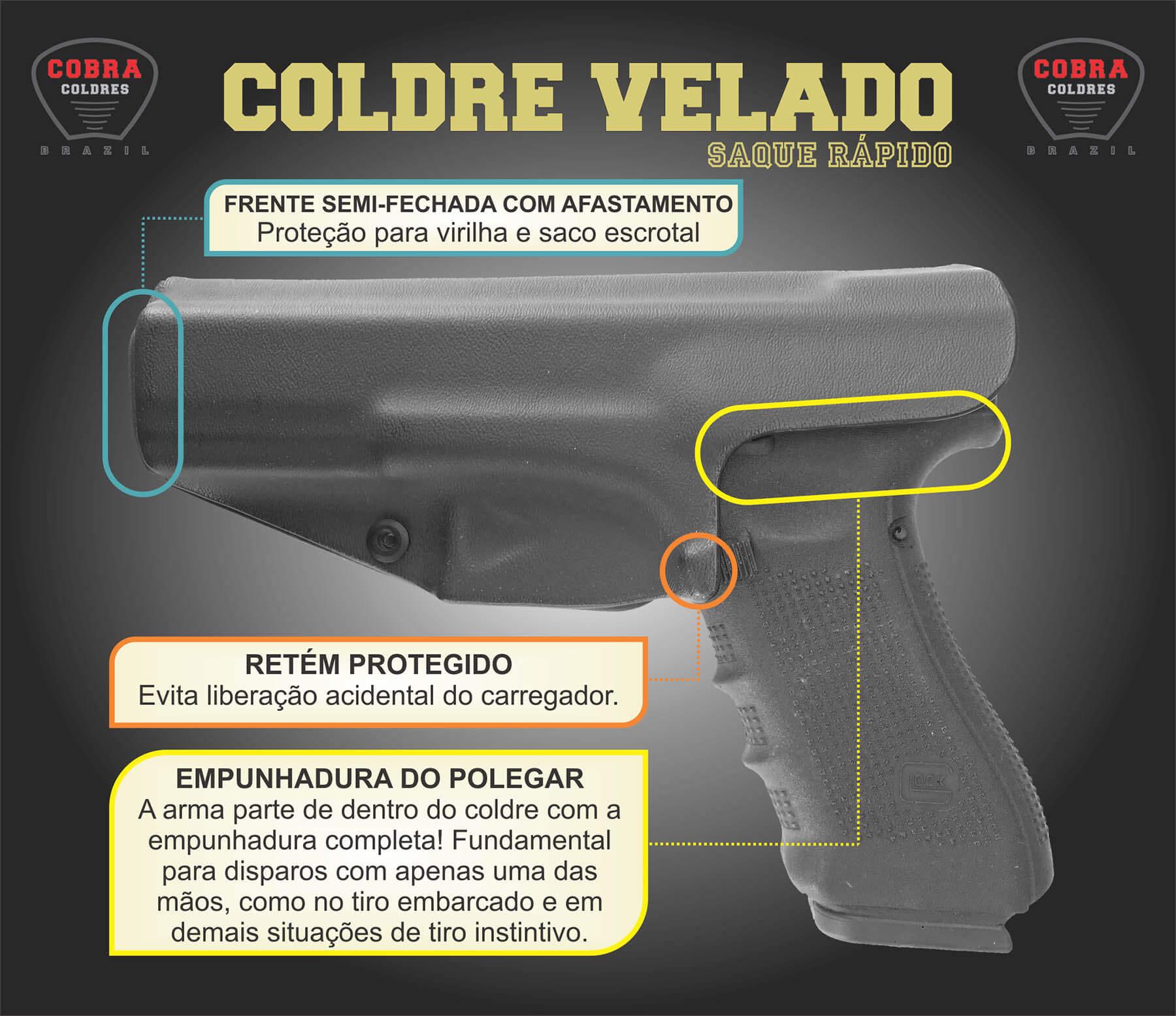 Coldre [G2c] .40 G2c 9mm Kydex Slim Saque Rápido Velado Kydex® 080 - Carbono