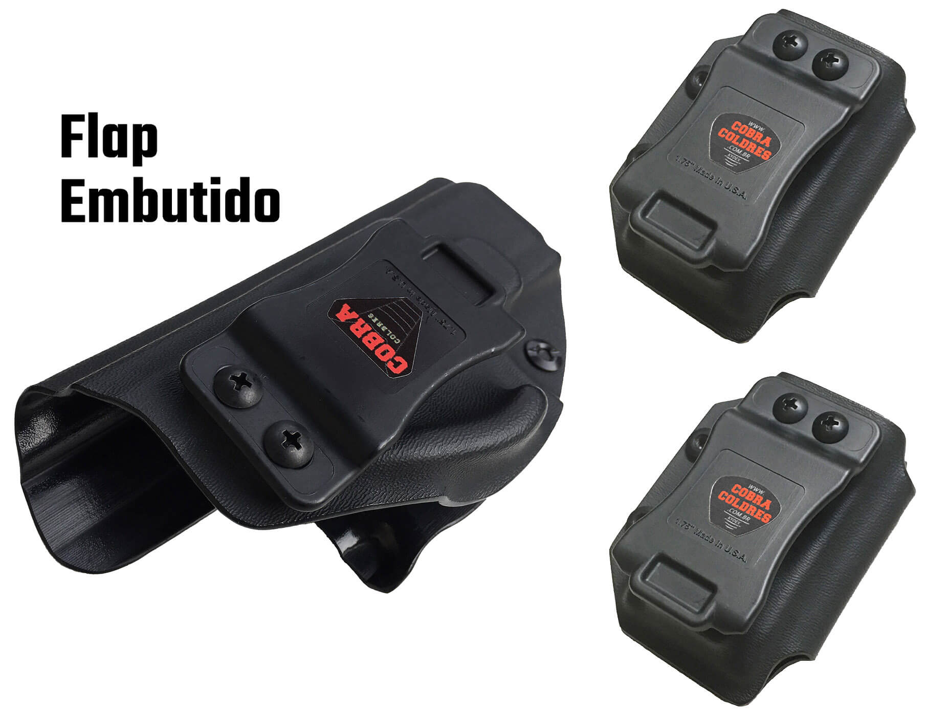 Coldre [G2c .40] Kydex Com Flap + 2 Porta-Carregadores Saque Rápido Velado Kydex®