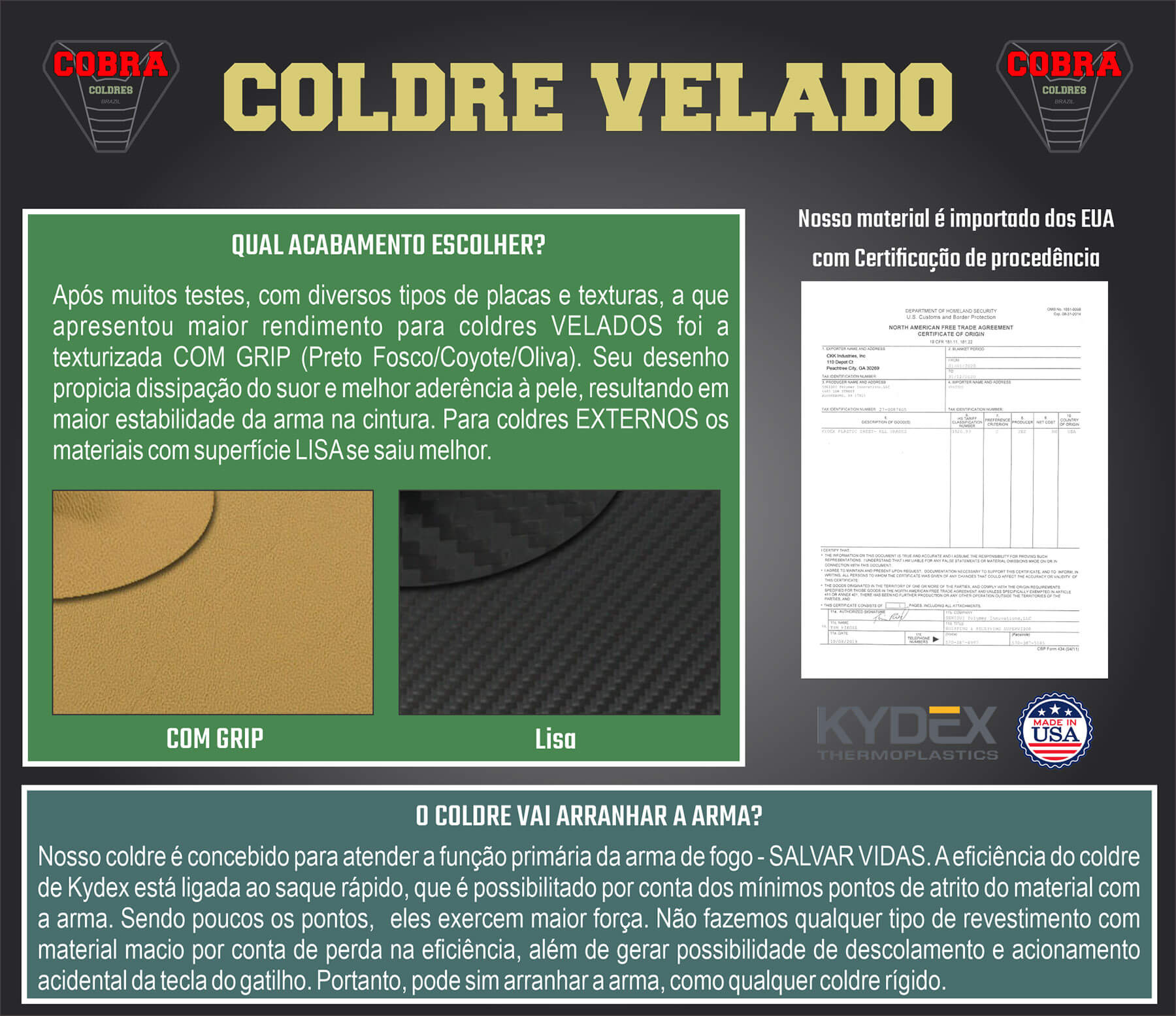 Coldre [G2c 9mm] Kydex Com Flap + Porta-Carregador - Saque Rápido Velado Kydex®