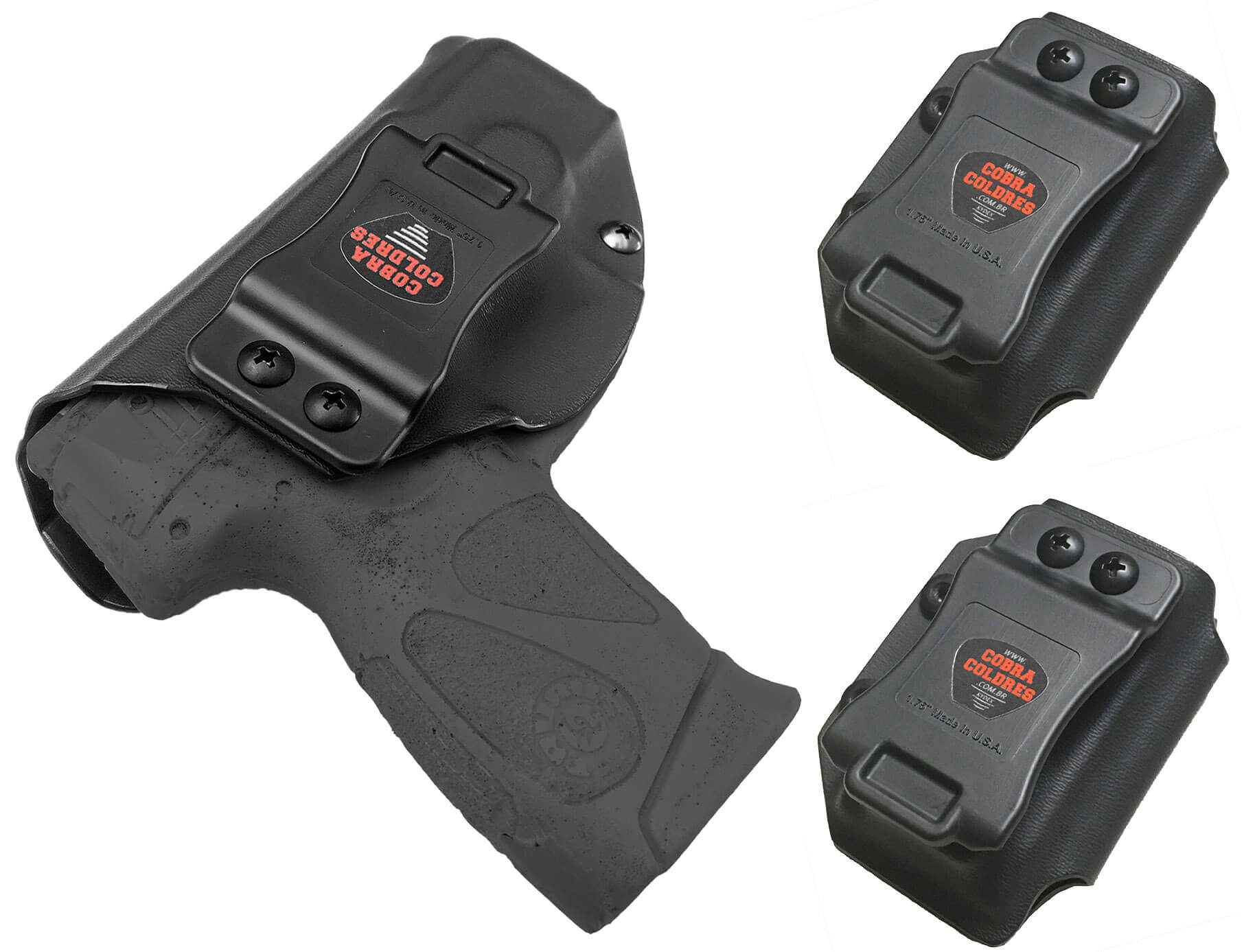 Coldre [G2c] 9mm Kydex Slim + 2 Porta-Carregadores Saque Rápido Velado Kydex® 080