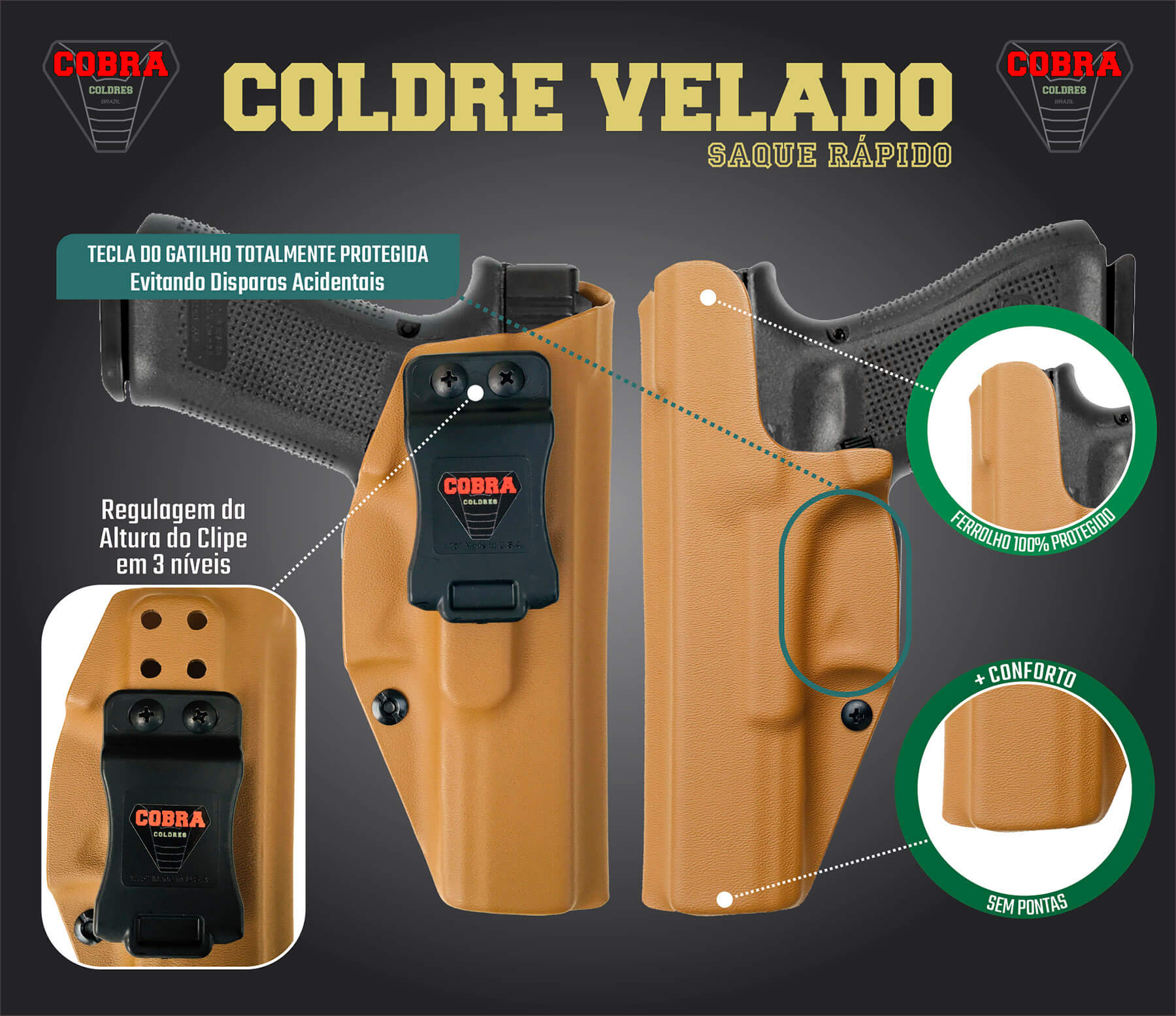 Coldre Kydex Glock [G30] Saque Rápido Velado Kydex® 080