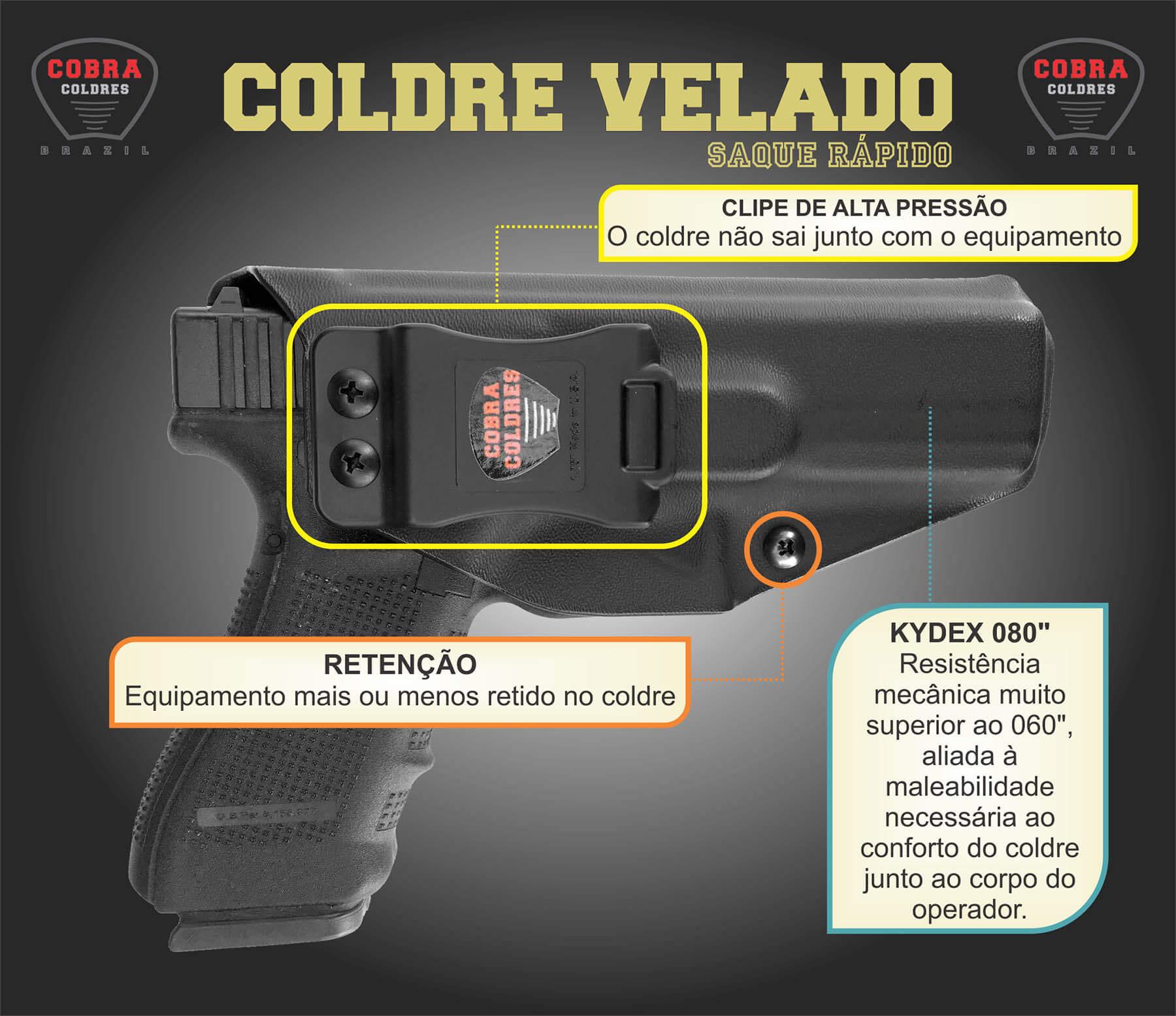 Coldre Kydex Premium [G2c] [G17] [G19] [G25] [TS9] [TH] [THc] [G21] [RT85] [RT817] [RT605] - Glock Taurus - Saque Rápido Velado Kydex® 080