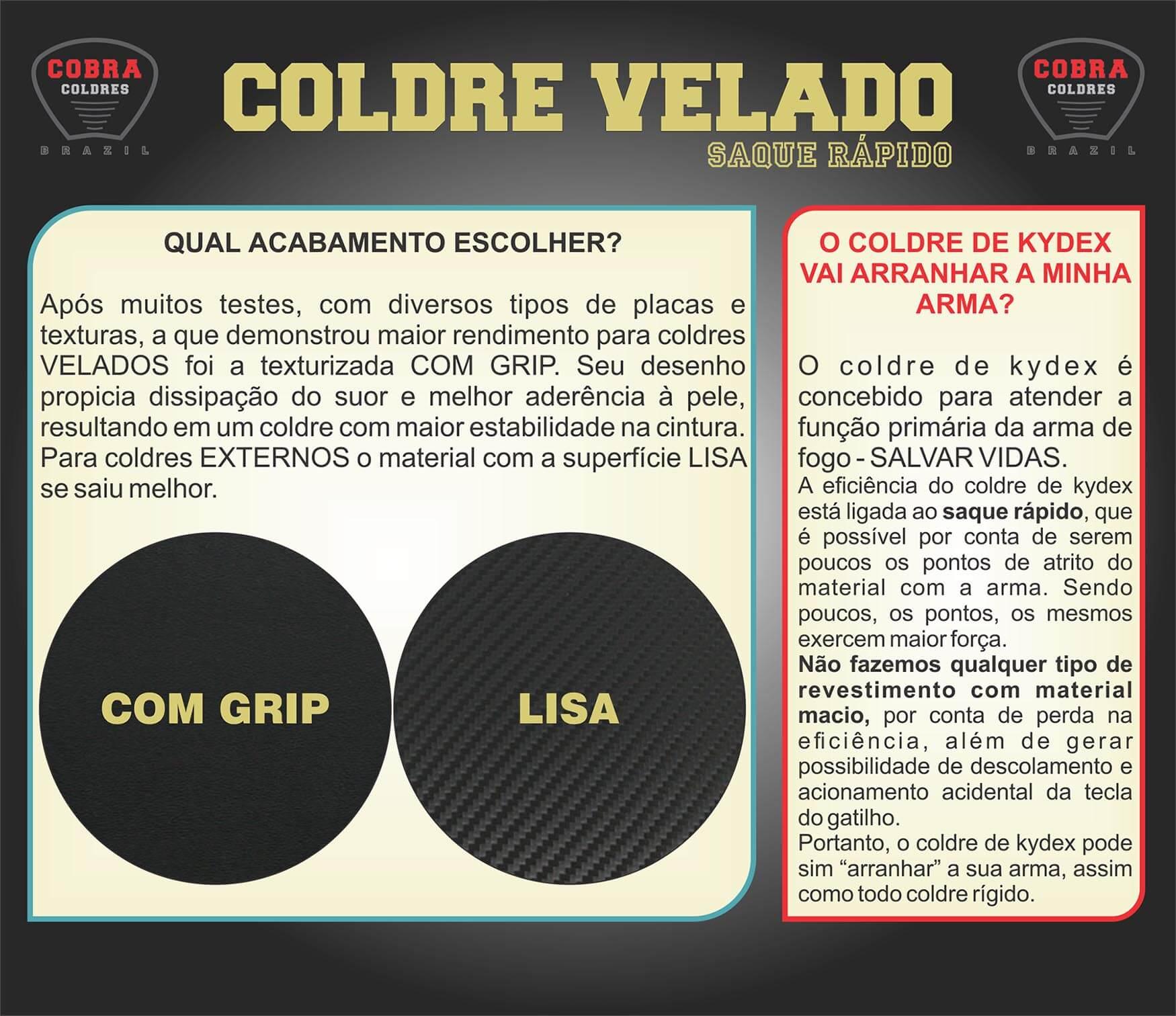 Coldre Kydex PT940 c/ Trilhos Saque Rápido Velado