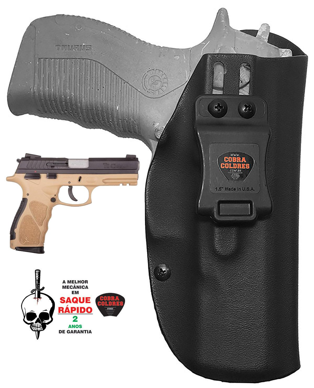 COLDRE PARA PT838 PT 838 TH380 PISTOLA TAURUS INTERNO DE KYDEX - 080 (+- 2mm)