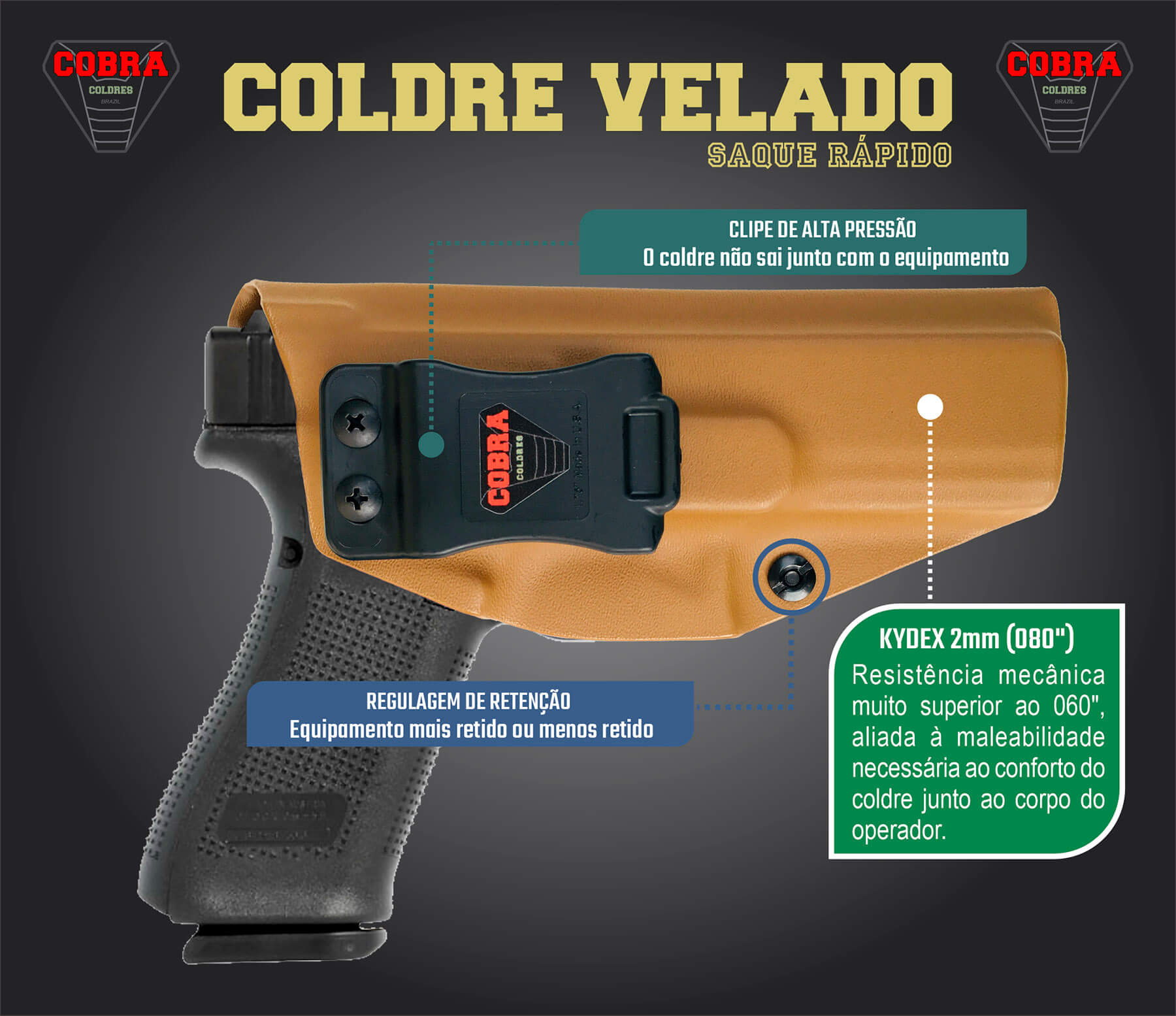 Coldre Slim [G17] [G22] [G31] Glock Saque Rápido Velado Kydex® 080
