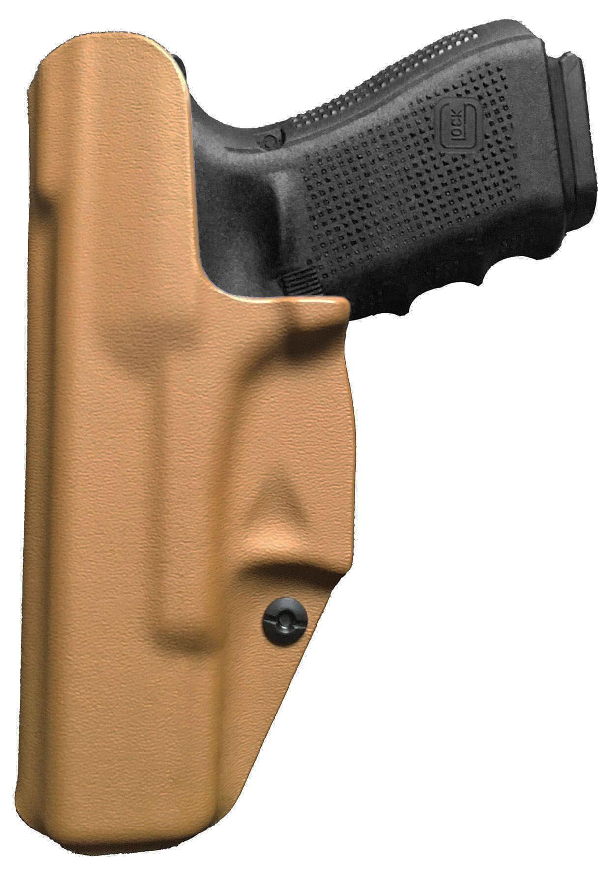 Coldre Slim G25 G19 19x G23 G32 G38 Glock Saque Rápido Velado Kydex® 080 - Coyote Brown / Areia