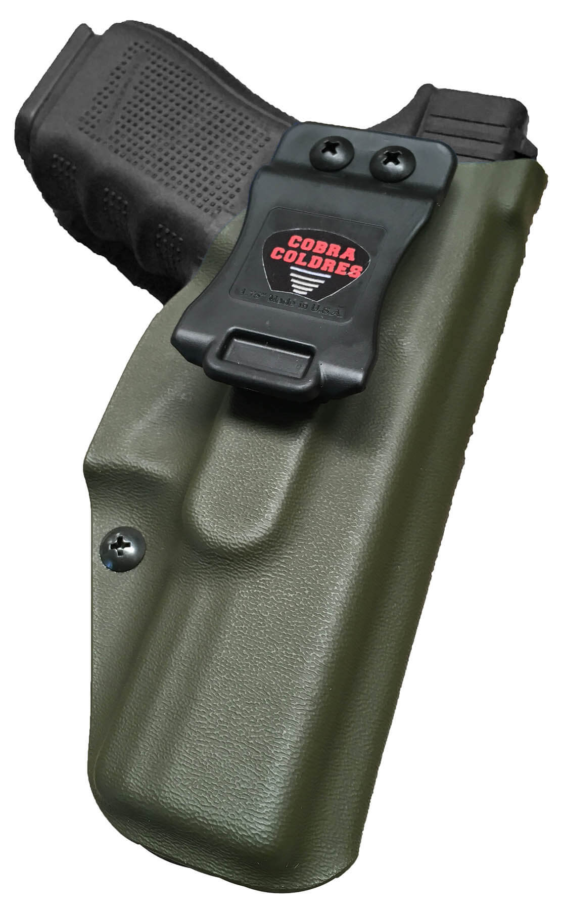 Coldre Slim G25 G19 19x G23 G32 G38 Glock Saque Rápido Velado Kydex® 080 - Verde Oliva Escuro / Dark Olive