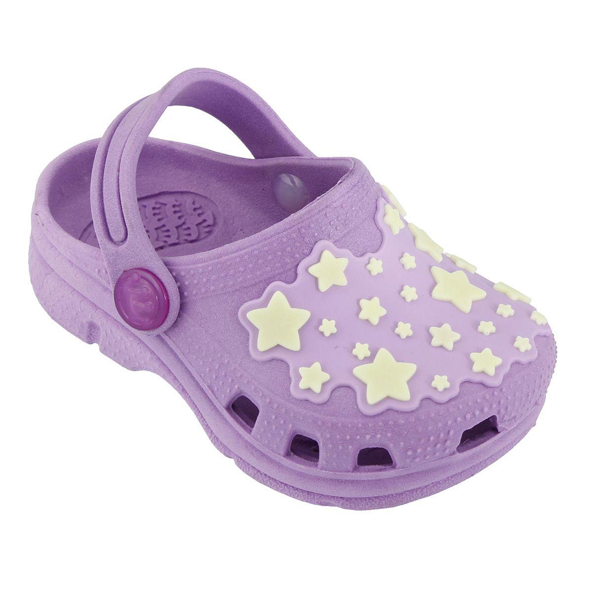 Babuche Baby Estrelas Brilha no Escuro Lilás
