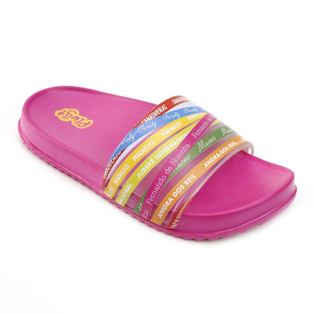 Chinelo Plugt Slide Praias Brasileiras Pink