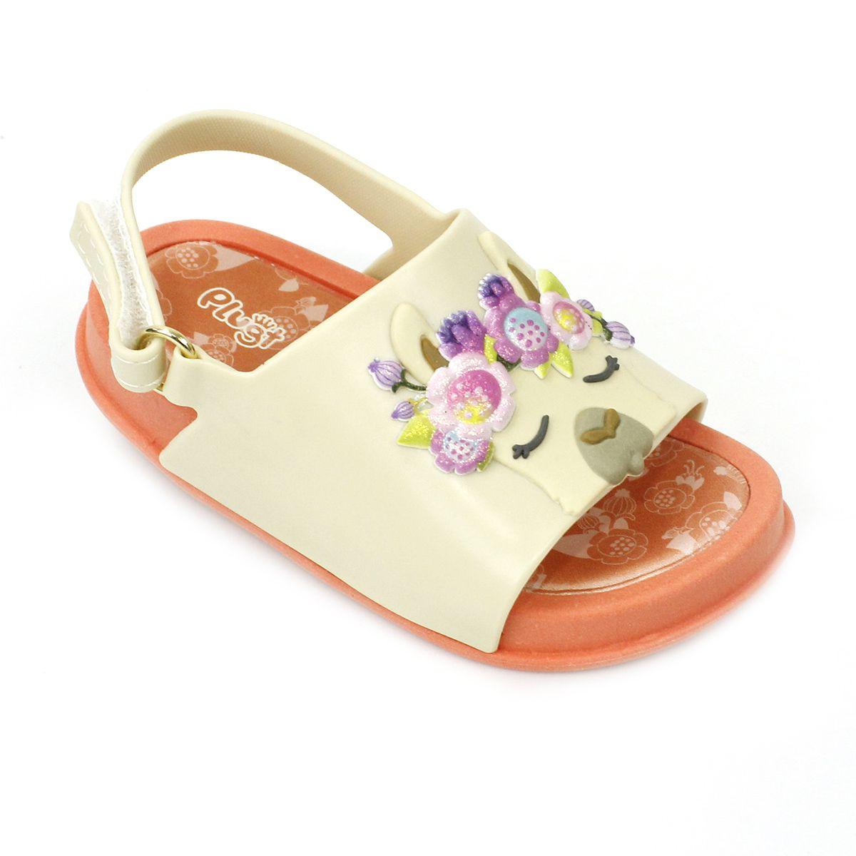 Sandália Plugt Mini Bizz Lhama Floral
