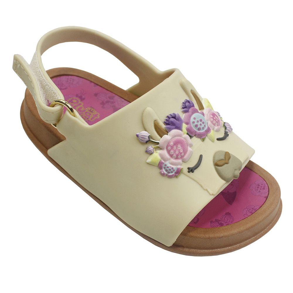 Sandália Plugt Mini Bizz Lhama Floral Infantil