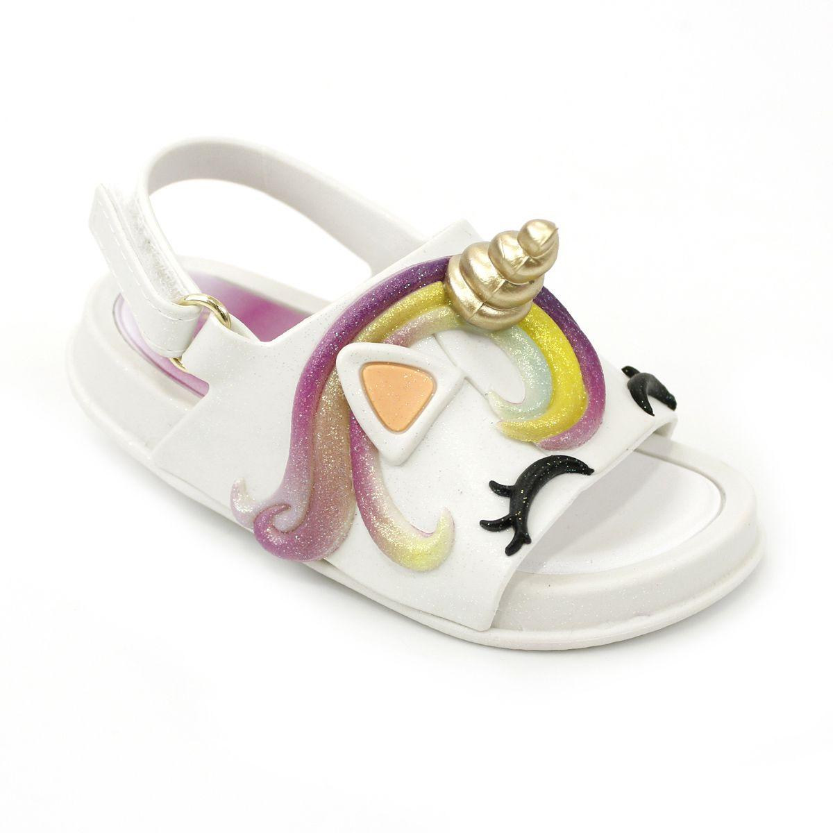 Sandália Plugt Mini Bizz Unicórnio Gliter Branco
