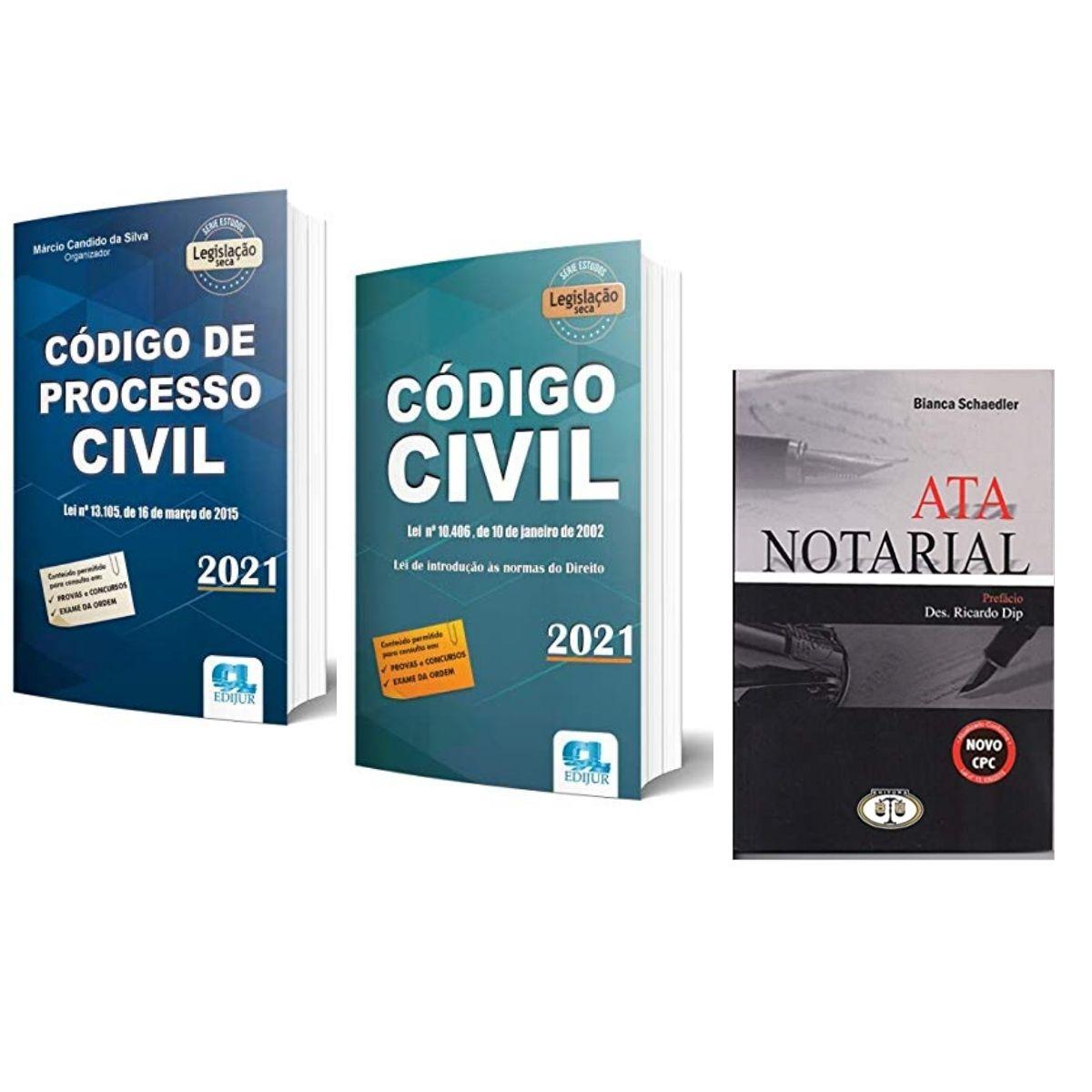 Combo Processo Civil + Código de Processo Civil + Ata Notarial