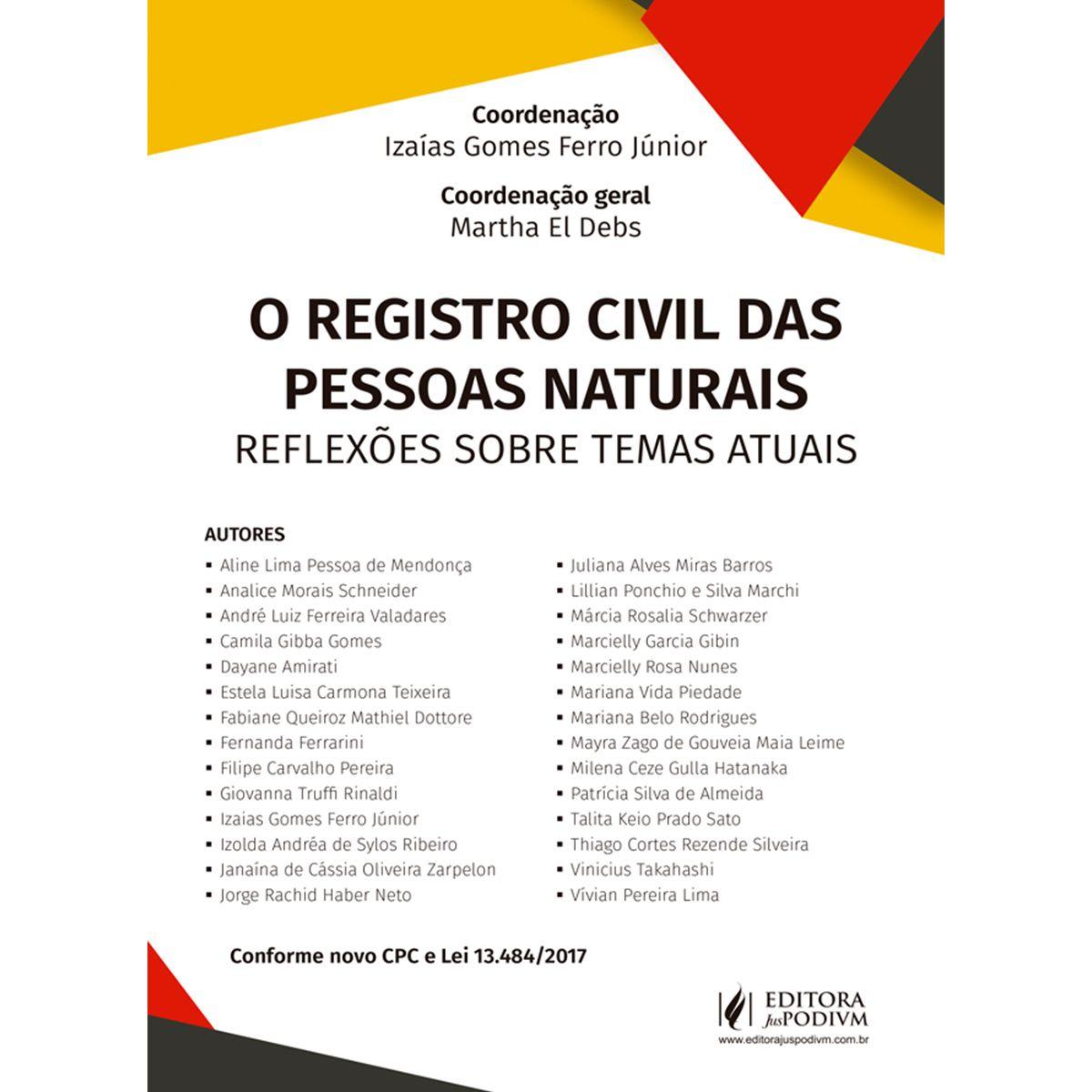 O Registro Civil Das Pessoas Naturais - Novos Estudos