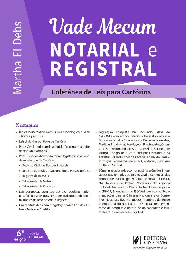 Vade Mecum Notarial e Registral - Coletânea de Leis para Cartórios