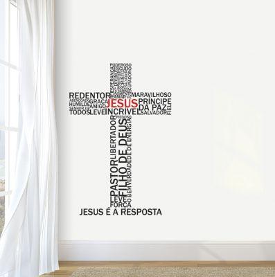 Adesivo Decorativo Frase - Jesus é a Resposta