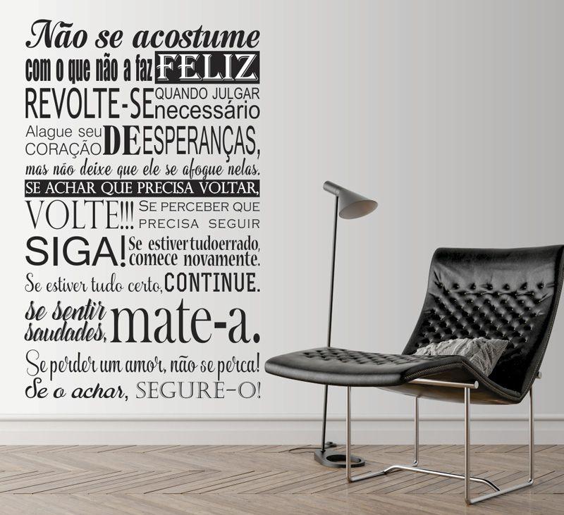 Adesivo Decorativo Frase - Não se Acostume