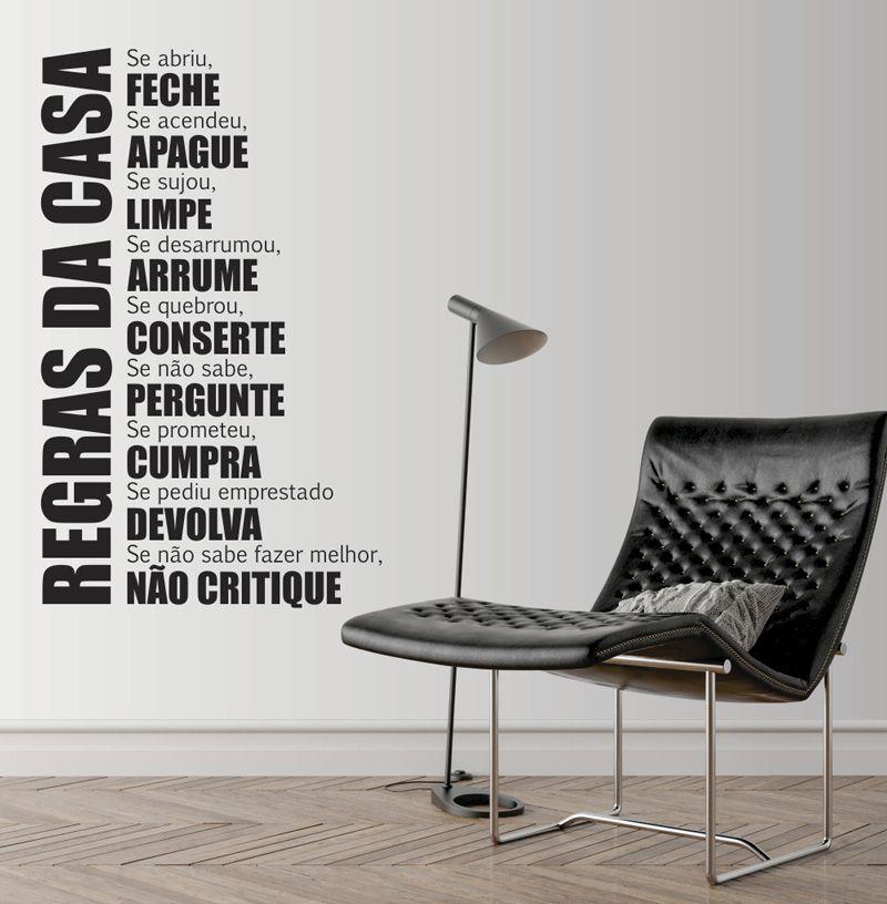 Adesivo Decorativo Frase - Regras da Casa