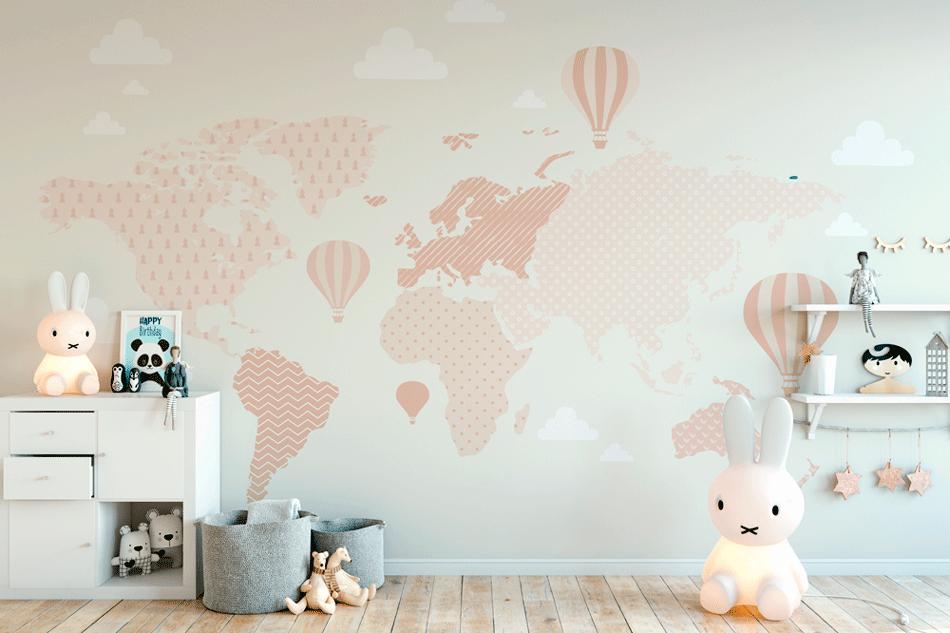 Painel Adesivo Decorativo - Mapa Mundi Rosé